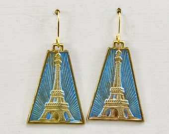 Handmade Earrings Vintage Art Deco French Brass Eiffel Tower Hand Painted Blue and Gold On Gold Hooks
