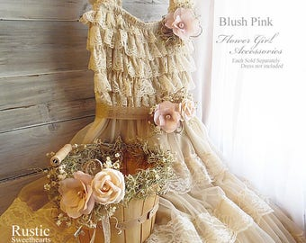 Blush Pink ~ Flower Girl Accessories ~ Pin on Corsage ~ Sash ~ Basket. Ready to ship and will arrive to you in 3 days priority mail!