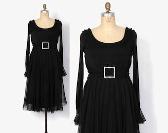 Vintage 60s Cocktail DRESS / 1960s Helen Rose Hollywood Designer Black Jersey & Chiffon Party Dress L