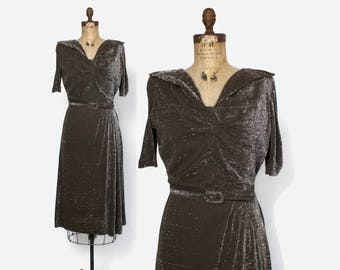 Vintage 50s LUREX Dress / 1960s Metallic Silver & Espresso Brown Belted Dress L