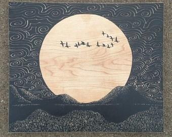 Migrating geese, moon art, full moon painting