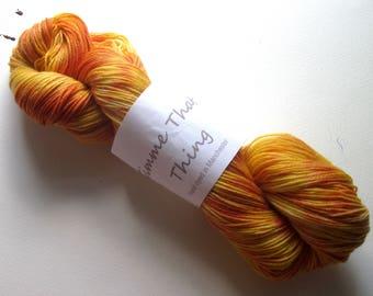 Hand Dyed Sock Yarn Merino Superwash and Nylon Wool - Madly Mango