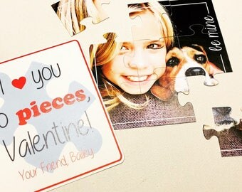 Photo Valentine cards - puzzle Valentines, kids, non candy classroom valentines