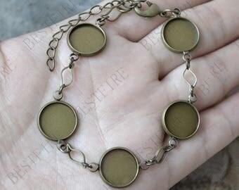 2pcs of Antique Brass flower Adjustable bracelet Bezel,Bezel bracelet blanks,Vintage bracelet settings,Blank Bezel Link Photo Charm Bracelet
