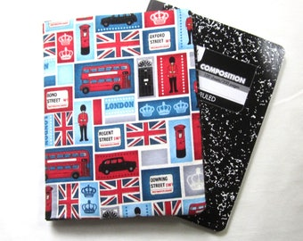 Reusable Composition Book Cover with Pocket featuring London Fabric (Comp book included)