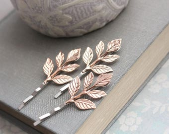 Rose Gold Leaf Hair Pin Pink Gold Branch Bobby Pins Leaf Bobbies Nature Woodland Wedding Rose Gold Leaves Bridal Hair Accessories Grecian