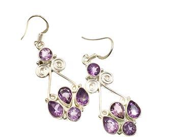 Amethyst Sterling Silver Earrings, Drop Earrings, Sterling Silver Jewelry, Gift Ideas, Gift For Mom, Amethyst Jewelry, Statement Earrings