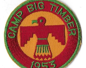 Vintage Mid Century Boy Scout Camp Patch - Camp Big Timber 1953