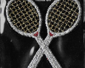 Vintage Unused 1970's Sta-Ons Glitter Tennis Racket Embroidered Applique Patch