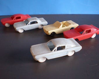 Mid Century Plastic Toy Ford Cars - Set Of Five