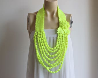 Neon Yellow Necklace- Rose Necklace- Jewelry Scarf-Handmade Loop Scarf -Bamboo Summer Scarf