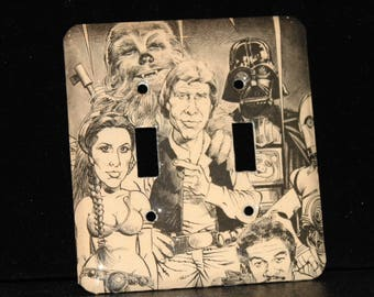 Star Wars Cracked Magazine Switchplate Double Wall Plate Light Cover Princess Leia Han Solo Darth