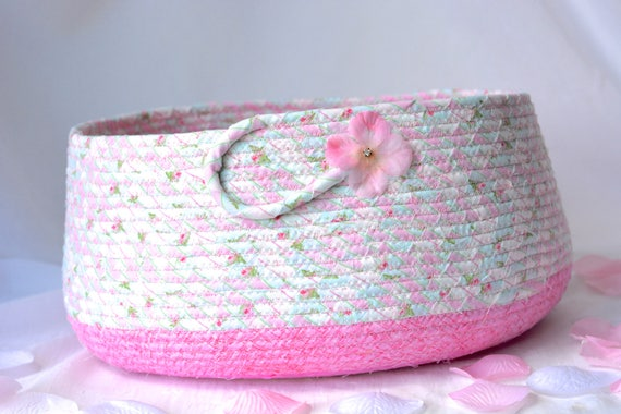 Gift Basket, Cute Cat Bed, Hand Coiled Pet Bed, Pink Fabric Basket, Modern Cat Bed Furniture, Dog Bed, Toy Storage Organizer
