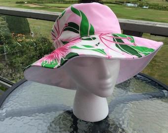 Sunhat / garden hat with pink Ilima Hawaiian fabric print brim, floppy hat
