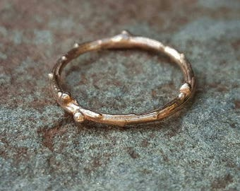 Rose Gold Band, Rose Gold Twig Ring, Twig Ring Rose Gold, 14K Rose Gold Band, Women's Rose Gold Ring, Rose Gold Wedding Band, Rose Gold Ring