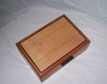 Cherry with Fiddle Back Maple Inlyed Top 11 inches x 7 3/4 inches x 4 inches Hand crafted Watch box Tea box