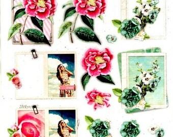 005 - 1 sheet of die cut flowers romance images