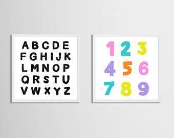 Alphabet Wall Art , Set of 2 Letters Numbers Kids Room Art Prints , Black White Nursery Art , Candy Color Wall Art Playroom Square Large Art