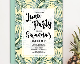 Tropical Palm Leaves Green and Pink Aloha Luau Hawaiian It's a Girl Baby Shower Printable Invitation
