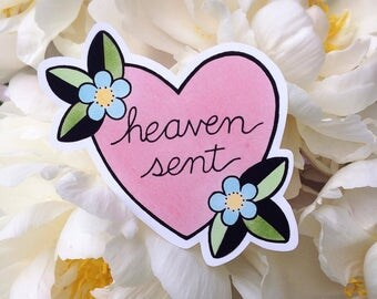 Brand New Heaven Sent Tattoo Flash Heart STICKER by Michelle Kent