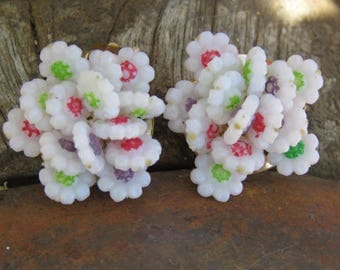 Vintage White Cluster Clip On Earrings, Red Purple Green Flower Shape Beads, Easter Springtime Wear, Cheerful Everyday Jewelry, Girly Girl
