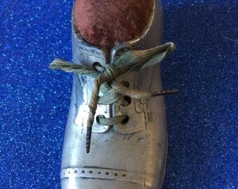 Large Mans Pewter Shoe Pin Cushion c1900-1920