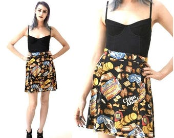 SALE 90s Vintage Nicole Miller Silk Wrap Skirt by with Junk Food Animal Crackers, Oreos, Chips Ahoy Small Medium