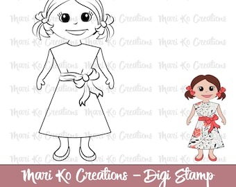 Maddy Dressed Up Digital Stamp 300 dpi png