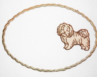 Havanese dog embroidered quilt label to customize with your personal message