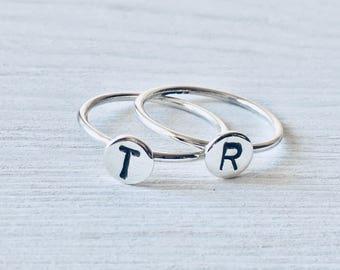 Initial Ring 925 Sterling Silver Ring Adoption Jewelry Silver Initial Ring | Silver Stacking Rings | Alphabet Monogram Rings | Sterling