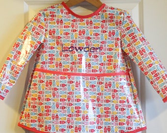 Extra Long Girls Long Sleeved Art Smock with Pastel Mini Owls