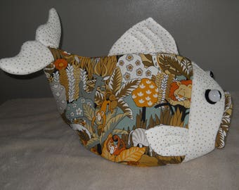 Cat Bed Fish Shaped Pet Bed Dog Bed Jungle Theme  Print