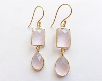 Step-Cut Faceted Rose Pink Quartz Vermeil Bezel Drop Dangle Earrings (E1293)