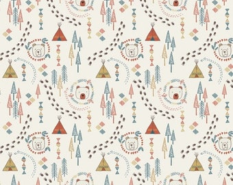 SALE 10% Off - Wigwam Woods on Cream  A101.2 - Big Bear Little Bear - Lewis and Irene - By the Yard