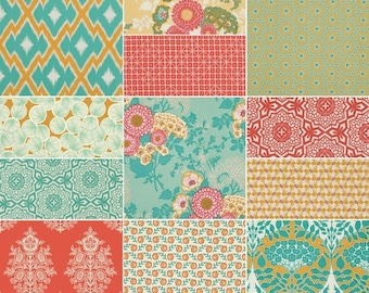 SALE 10% Off - HALF YARD Bundle (Golden Hour palette)  - Botanique - Joel Dewberry  - Free Spirit Fabric - 12 pcs