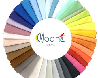 Kona Cotton Solid Fabric 2017 New Colors Fat Quarter Bundle, Gift For Her, Gift for Quilter, Cotton Quilting Fabric, 37 Pieces 9.250 Yards