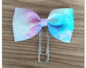 Pastel Watercolors bow Planner clip, bookmark, planner bow clip, green, purple, pink, white, yellow, aqua
