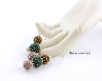 Beaded Bead Earrings by Sharri Moroshok