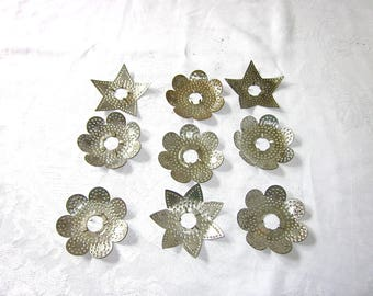 Christmas, Stars, Silver, Light Reflectors, Vintage, Tin Stars, Shabby Chic, Decoration, 1930s or Earlier, set of 9