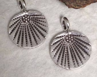 1 Hill Tribe Charms - Fine Silver Charm with Radiating Design -  Unique Pendant - 13mm Oakhill Silver Supply C206a