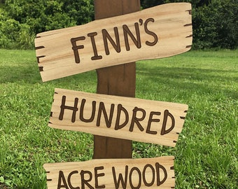 Customizable Winnie the Pooh Birthday Party 100 - Hundred Acre Wood Standing Sign, winnie the pooh birthday