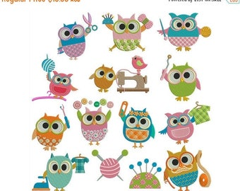 ON SALE SEWING Owls - Machine Filled Embroidery - Instant Digital Download