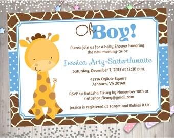 Giraffe Baby Shower Invitation Invite Baby Sprinkle Boy Baby Shower Party Printable