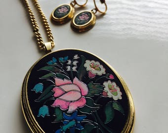 Vintage Avon Floral Necklace and Matching Earrings