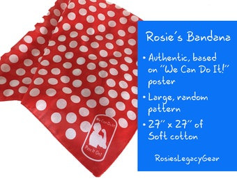 Rosie the Riveter Authentic Bandana or Headscarf with Red and White Polka Dots. Retro Style. Full Size. RtR-1