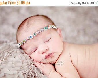 10% SALE Vintage headband, Baby headband, newborn headband, trim headband, adult headband, and photo prop Faux diamond trim headband