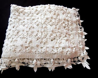 Large Vintage French Bed Coverlet Hand Crocheted with Raised Pattern and Lacy Border