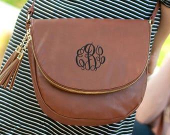 Monogrammed purse, ladies handbag, monogrammed crossbody, vegan leather purse, tassel purse, black purse, brown purse, blush purse,