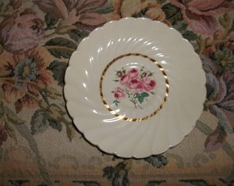 Newport Pottery Co. Ltd. Saucers Allison White Swirls Roses Gold