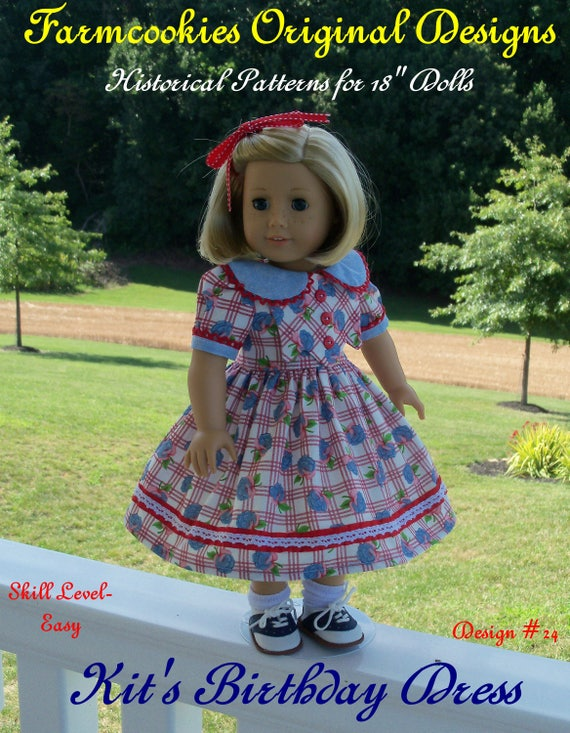 PRINTED SEWING PATTERN fits like American Girl Doll Clothes / Kit's Birthday Dress by Farmcookies / 18 Inch Doll Clothes Pattern